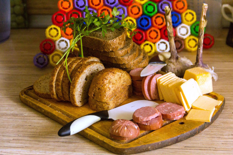 Cutting Board Bread Breakfast Cheese Close-up Food Food And Drink Indoors  Large Group Of Objects No People Sausage