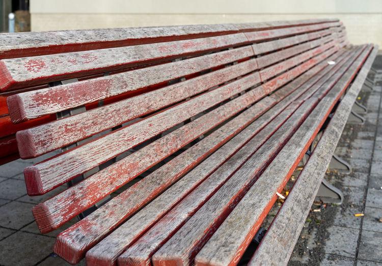 High angle view of metallic bench