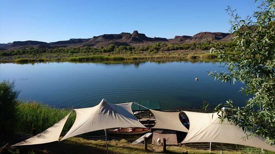 Camping site at the Orange River Orange River South Africa Camping Tents Tranquility Silence Idyllic No People Outdoors Landscape Mountain Day Clear Sky