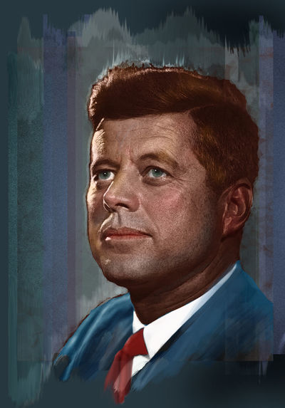 Colorized and stylized photo of John F. Kennedy (1917 - 1963), 35th US President JFK Kennedy Colorized One Person People Politician Portrait Stylized Us Presidents