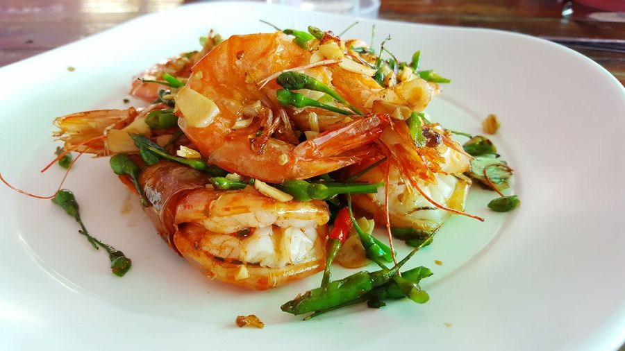 Close-up of seafood served in plate