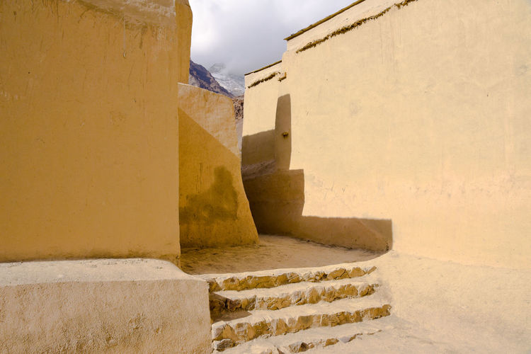 Low angle view of monastery building against sky