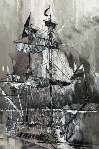 Aquarell Black And White Blackandwhite Boat Bordeaux Day Large Group Of People Outdoors People Person Russian Ship Shtandart Sky Vertical