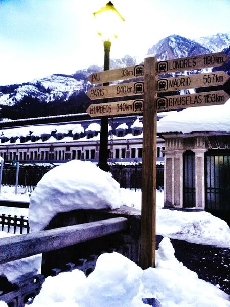 Snow ❄ Station Canfranc Montain Collection Train Station Cold Winter ❄⛄ Directions Directioners Cold Ice Snow Snow❄⛄ Direcctions Montain  Old Station Snow Views EyeEm Gallery Taking Photo Eye4photography  Travel