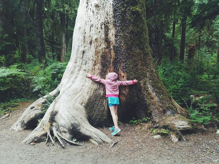 Day Outdoors Motion Full Length Nature One Person Girl Childhood Tree Tree Trunk Hoh Rainforest PNW Trail