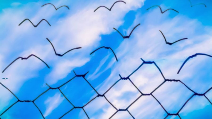 Low angle view of blue sky seen through metal fence