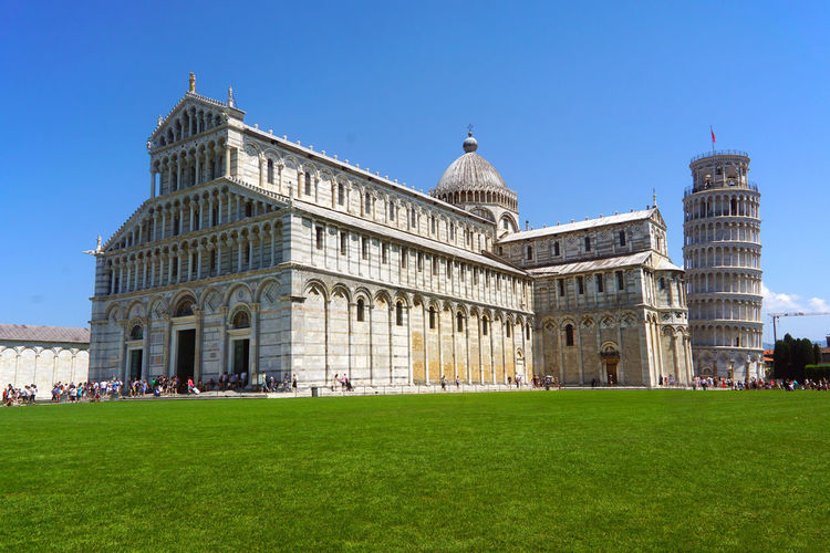 Pisa Tower Architecture Building Exterior Built Structure City Clear Sky Day Dome Grass Green Color History Lawn Outdoors People Pisa, Italy Pizza Sky Travel Destinations