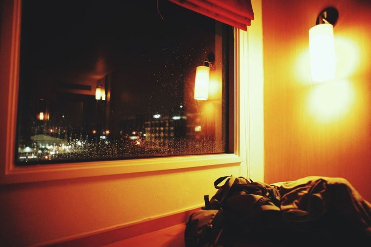 away from home Illuminated Domestic Room Window Home Interior Architecture Electric Lamp Darkroom