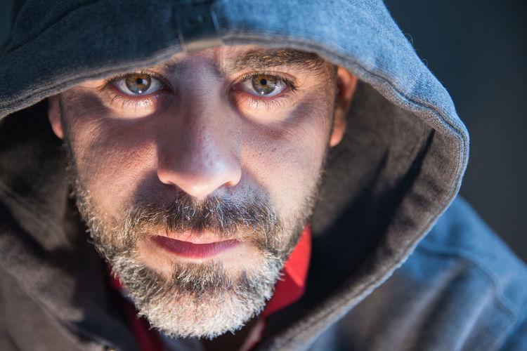 Close up portrait of hacker