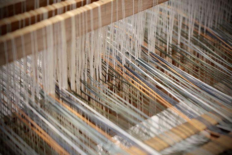 High angle view of loom machine