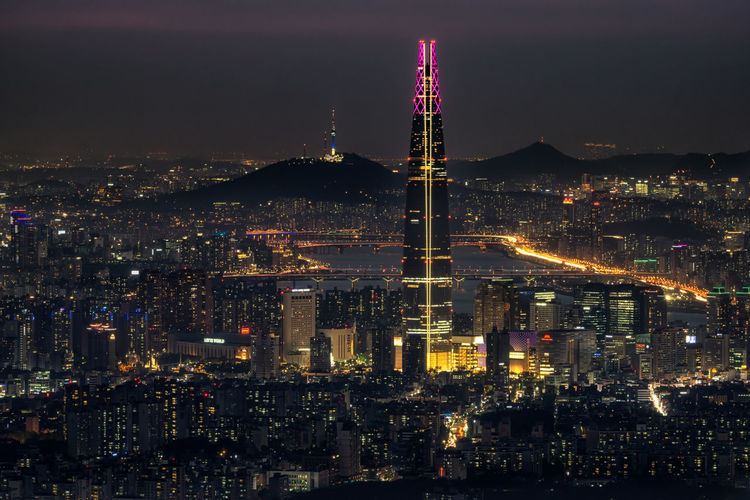 Night view over seoul taken from namhansanseong fortress.