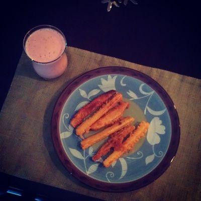 day 10 Nomeat Lent craving for something greasy, crispy battered fries Strawberry Banana yogurt smoothie