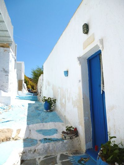 No People Building Exterior Sky Greecesummer Greece Islands Milos Plants And Flowers Blue Mermaid House Facade Door Pathway Hill Whitewashed 3XSPUnity