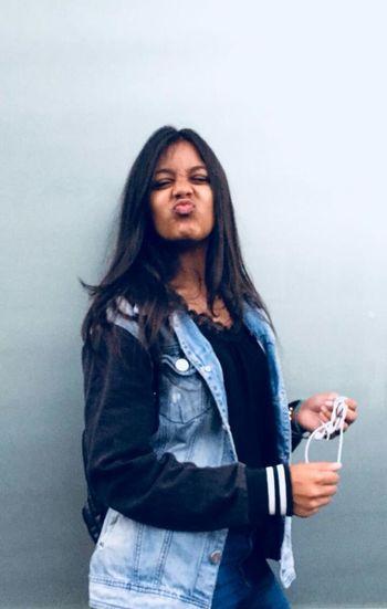 🌹 A.K04 PHOTO Mauritius Beauty Portrait Gray Background Standing Long Hair Looking At Camera Women Denim Jacket Pretty Jacket The Fashion Photographer - 2018 EyeEm Awards