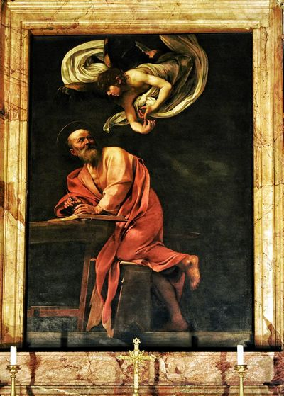 St. Matthew and the Angel - Painted by: Caravaggio - San Luigi dei Francesi - Roma Roma Rome Photobydperry Indoors  Chiesa Architecture And Art Place Of Worship Travel Destinations San Luigi Dei Francesi Italy Italia Caravaggio Caravaggioexperience Painting Church