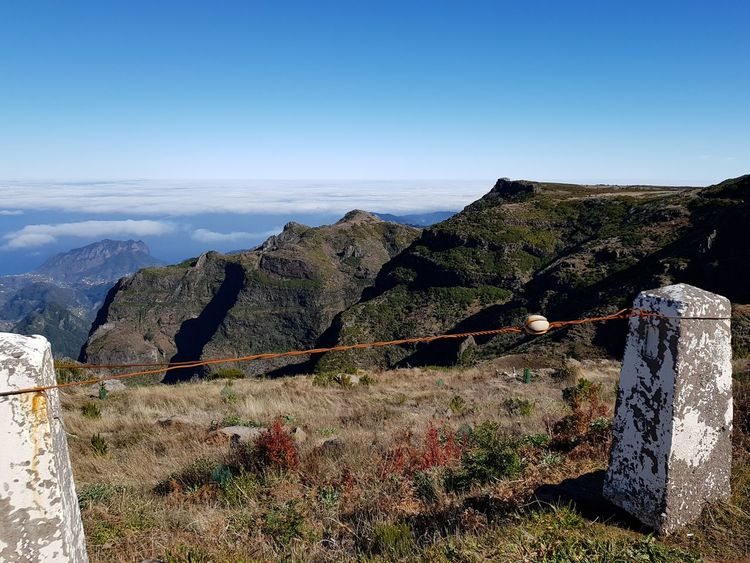 Vacation Destination Photography Wire Cable Road Limit Rock Formations Landscape_Collection Landscape_photography Bildfolge Fog Plants Beauty In Nature Madeira Island Horizon Outdoors Mountain Day No People Landscape Sky Nature