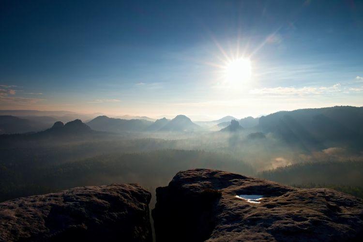Majestic morning mountain landscape. dramatic overcast sky. saxony national park. beauty world.