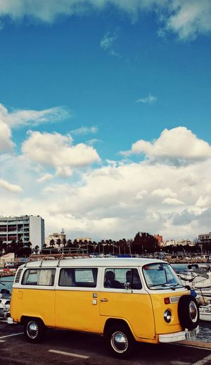 All I need is a yellow camper and few stories later it will be a life well lived. Travel Spain ✈️🇪🇸 Stories from the City World Camera Photography Life Allabouttravel Architecture Curtainwall  Yellow Taxi Car Cloud - Sky Vintage Car
