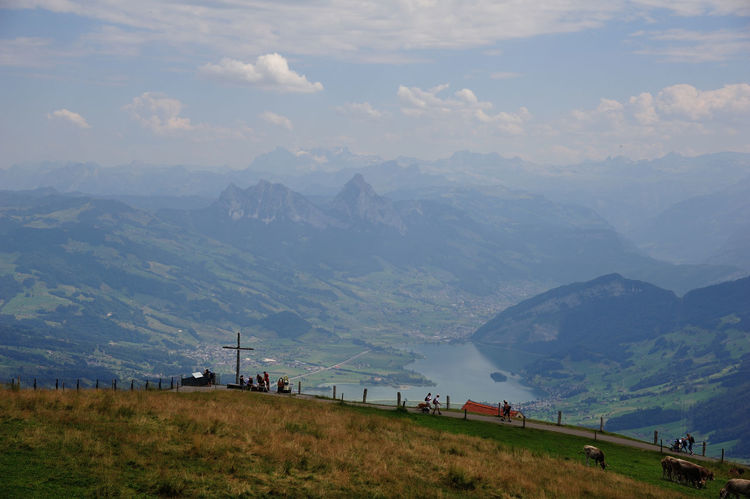 Mountain Mountain Range Grass Outdoors Built Structure Scenics Landscape Cloud - Sky Tranquility Sky Fog Nature Beauty In Nature No People Day Architecture Lush - Description Swiss Swiss Mountains Rigikulm Rigi Mountain Rigi The 👑 Queen Of Mountains