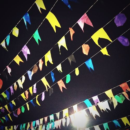 No People Little Flags Low Angle View Traditional Festival Night Sky Multicolored Flags Black Sky