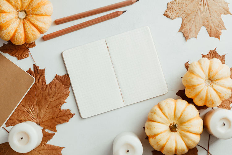 Autumn Top View Flat Lay September October November Maple Note Notebook Empty Blank White Above School Pumpkin Candle Concept Cozy Winter Mockup Fall Back Background Education Mock Desk Table Design Pencil Template Colorful Copy Space