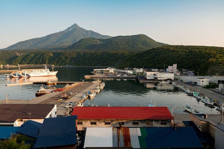 EyeEm Selects Sea Pier Water Nautical Vessel Outdoors Mountain Harbor Beach Day No People Landscape Rishiri Island Hokkaido Japan Sky Clear Sky Nature Tree