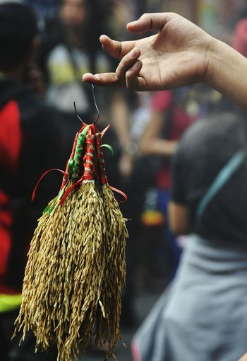 Cropped Hand Of Street Vendor Selling Wheat Decoration At Market