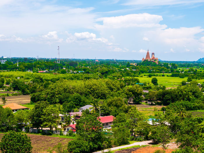 Thai view Plant Tree Cloud - Sky Sky Built Structure Architecture Building Exterior Nature Green Color Growth Place Of Worship Day Building Religion Landscape No People Outdoors Belief Spirituality Beauty In Nature Spire