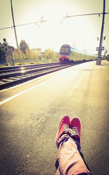 Having fun while waiting for train Peace Scenics Urban Geometry Urban Lifestyle Urbanphotography Urban Scene Waiting For The Train Waiting .... waiting game Train Station Trains & Railroad Sunlight Sunny Asphaltography Asphalt Background Asphalt Travel Asphalt Shoes Shoes Waiting Red Shoes Red Shoes And Bear Legs Back To Hometown Back To The City Travel Photography Travel By Train