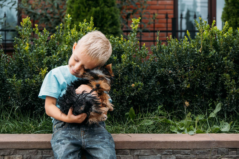 Boy with yorkshire terrier dog puppy. cute baby boy hugs york terrier puppy and siting
