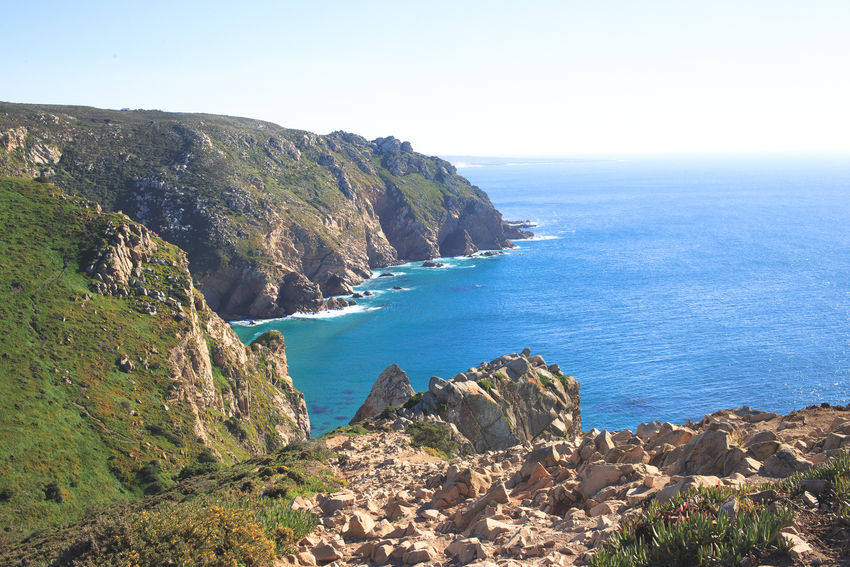 Cabo da Roca Beach Beauty In Nature Clear Sky Day Horizon Over Water Idyllic Landscape Nature No People Outdoors Scenics Sea Seascape Sky Water