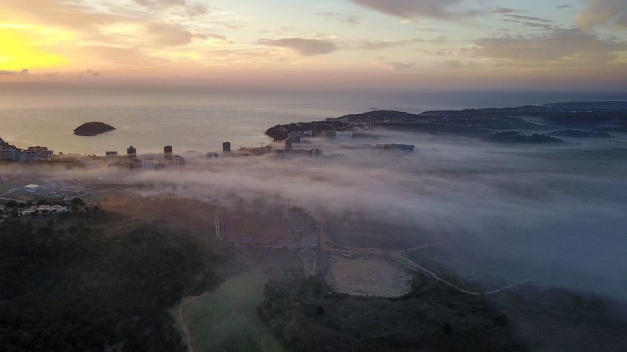 Drone  Mallorca SPAIN Beauty In Nature Day Foggy Horizon Over Water Landscape Nature No People Outdoors Scenics Sea Sky Sunrise Sunset Tranquil Scene Tranquility Travel Destinations Water