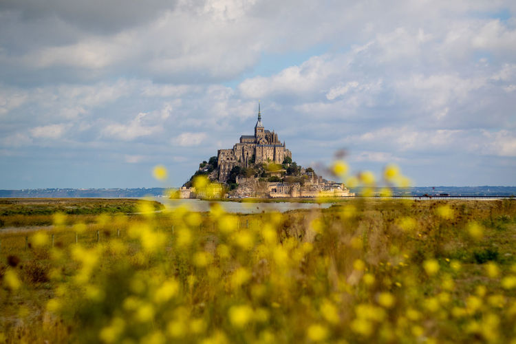 Le Mont Saint Michel abbey with dark clouds and yellow flowers in front of lens France Normandie Tourist Attraction  Abbey Architecture Cloud - Sky Fall Focus On Background Historic Building History Landmark Nature No People Outdoors Place Of Worship Sky Tourism Travel Travel Destinations Yellow Flowers