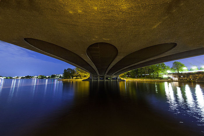 Alster Architecture Built Structure Diminishing Perspective Engineering Hamburg Kennedybrücke Modern Night Nightphotography No People Reflection Wide Angle