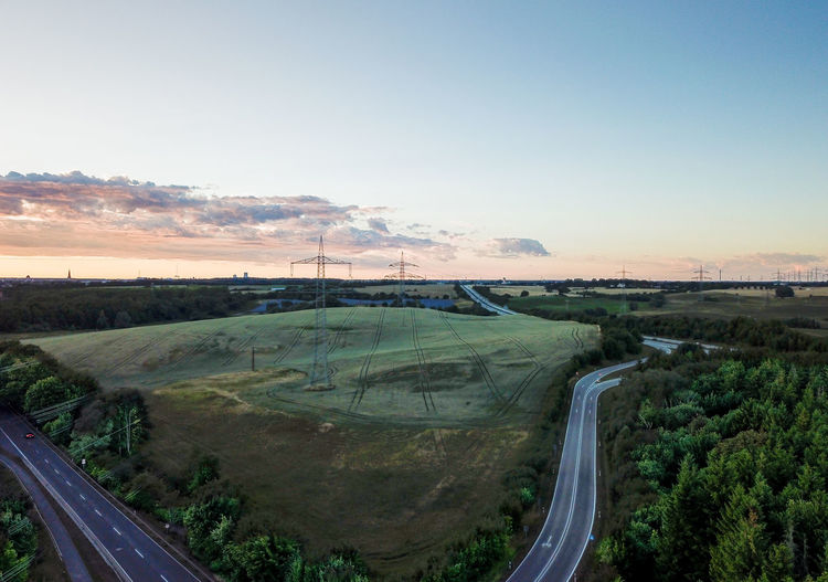 High angle view of road against sky during sunset