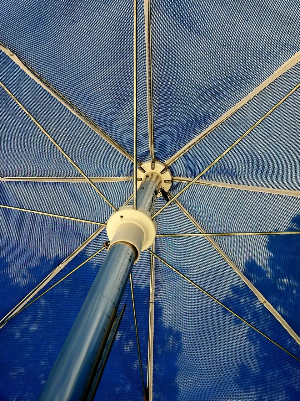 blue, no people, low angle view, sky, transportation, nature, day, mode of transportation, cloud - sky, technology, metal, rope, cable, outdoors, close-up, connection, security, fuel and power generation, architecture, nautical vessel, wheel, power supply, sailboat, directly below, silver colored, spoke