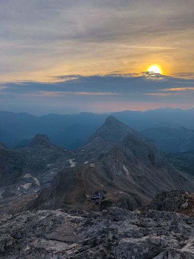 Looking down on Kredarica mountain hut Mountain Home Morning In Mountains Triglav Mountain Early Morning Triglav National Park Great Outdoors - 2018 Eyeem Awards Hiking Mountains The Alps Slovenia Hikerslife Mountain Sunrise Mountain Sky Beauty In Nature Scenics - Nature Cloud - Sky Environment Mountain Range Tranquil Scene Landscape Sunset Non-urban Scene Nature Tranquility No People Idyllic Outdoors