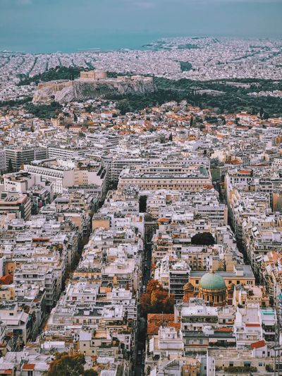 Urban athens with acropolis in the distance
