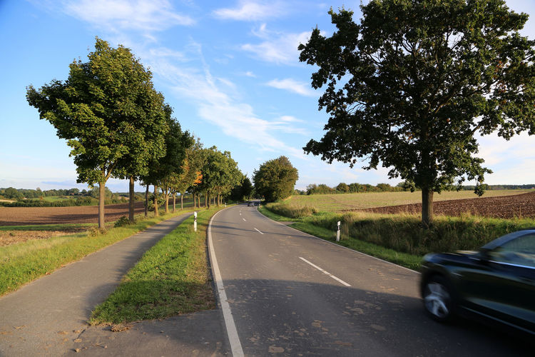 car driving on German country road Asphalt Country Road Driving Trees Car Speed The Way Forward