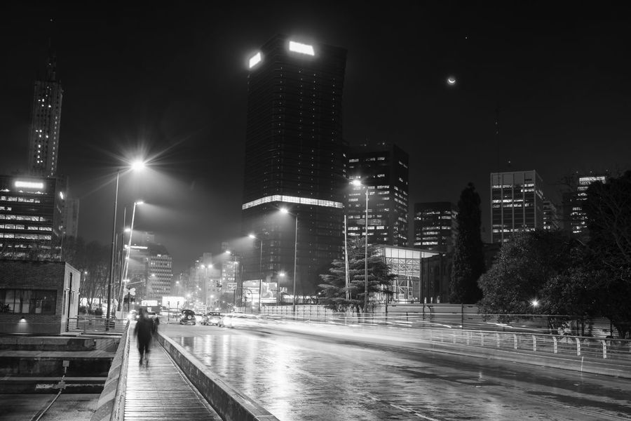 Foggy Street Business Finance And Industry City Cityscape Downtown District Fog Illuminated Night Nightlife Puerto Madero, Buenos Aires Reflections Skyscraper Street Light Urban Skyline Wet Pavement Blackandwhite Black And White Photography Black & White