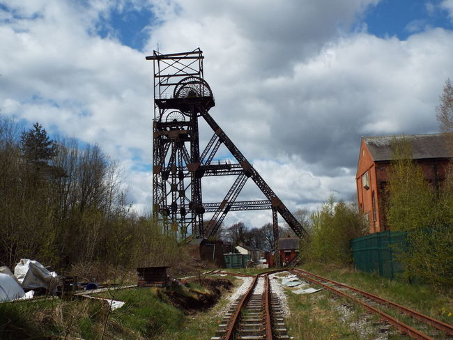 Colliery AstleyGreen Astley Green Industrial Heritage Industrial Landscape Coalmine Steel Structure  Headgear Rail Track Clouds And Sky