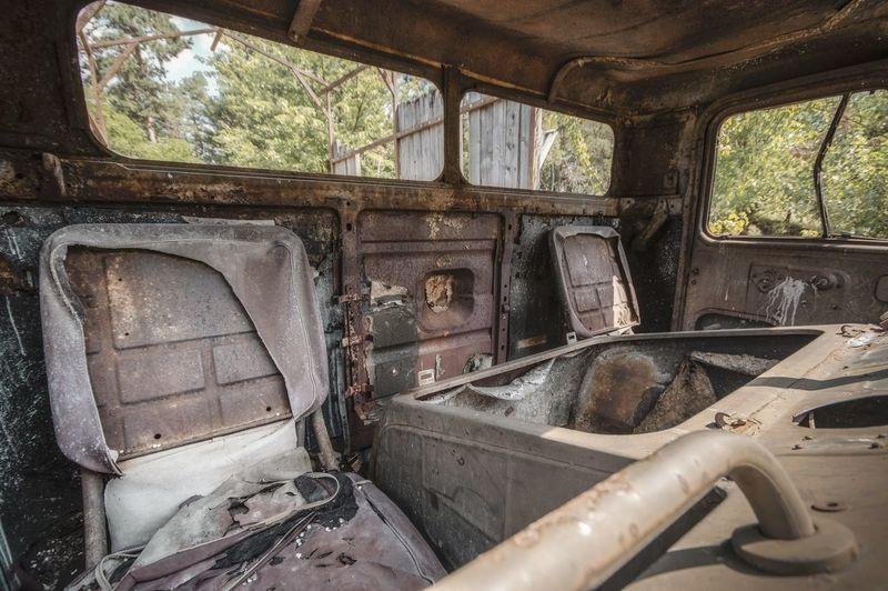 Interior of abandoned vehicle