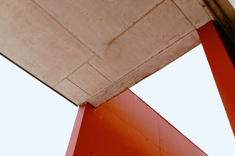 17.62° Red Architecture Built Structure Wall - Building Feature No People Day Low Angle View Sky Building Exterior Outdoors Clear Sky Nature Building Close-up Architectural Column Industry Metal Copy Space Geometric Shape Ceiling