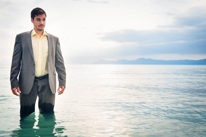 Business Drowning Suit Well Dressed Businessman Concept Concert Danger Drown Drowned Lifestyles Men Ocean People Sea Trouble Troubled Water Water Wet Young Men