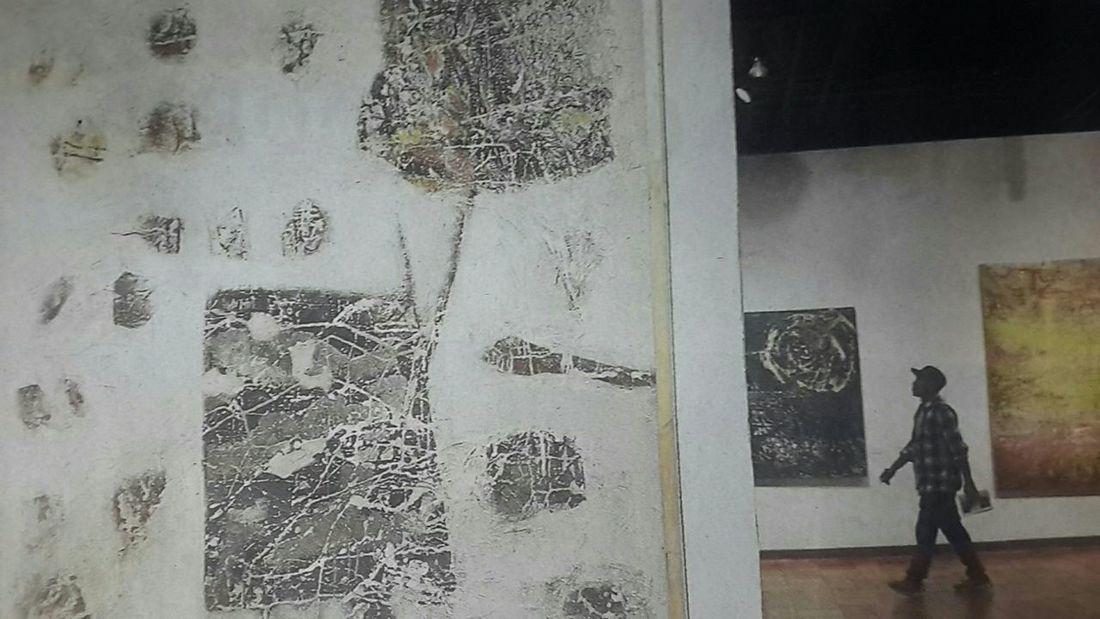 "Capturing original picture (Kompas/Heru Sri Kumoro) on page 11th if Kompas Daily Newspaper (10/9/15) had titled ""Mata Ekologi"". Pengunjung Lukisan"