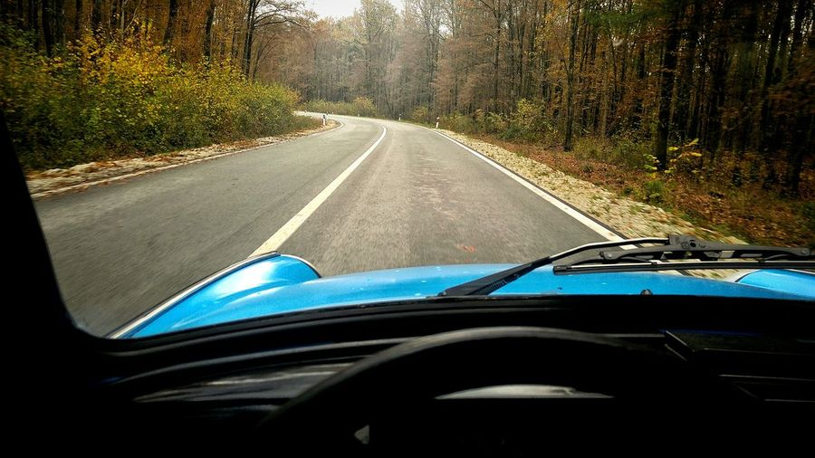 Car Road Travel Driving Car Interior Vehicle Interior Steering Wheel Outdoors Tree Day Nature Car Point Of View Dashboard Windshield Blue No People