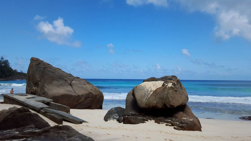 Seychelles Paradise Island. Sea Beach Water Sand Sky Horizon Over Water Cloud - Sky Rock - Object Nature No People Outdoors Day Wave Blue Beauty In Nature Nautical Vessel Scuba Diving Seychelles Islands Paradise Beach Paradise On Earth