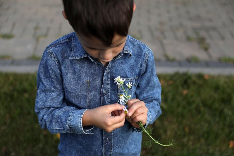 Ромашка Child Childhood Real People Leisure Activity Casual Clothing Focus On Foreground One Person Plant Lifestyles Holding Flower Flowering Plant Nature Front View Standing Day Outdoors