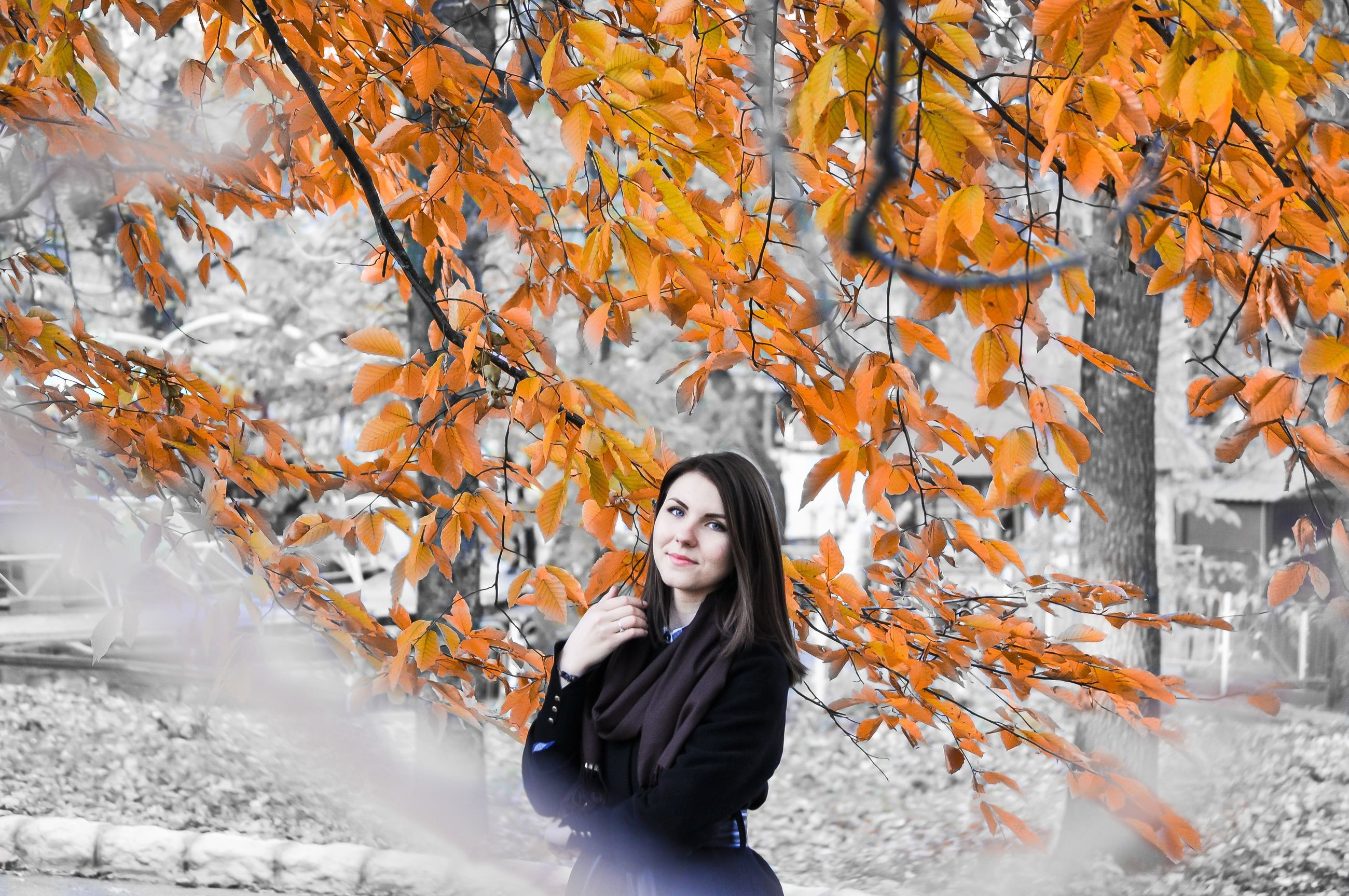 lifestyles, young adult, person, leisure activity, autumn, casual clothing, tree, looking at camera, standing, young women, portrait, front view, leaf, change, season, smiling, waist up, day