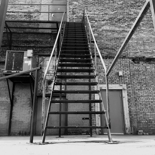Steps Steps And Staircases Staircase Architecture Railing Built Structure Metal Building Exterior The Way Forward Iron - Metal Outdoors Day No People Handrail  Rust Rusty Alley Alleyway Minnesotaphotographer Black And White Collection